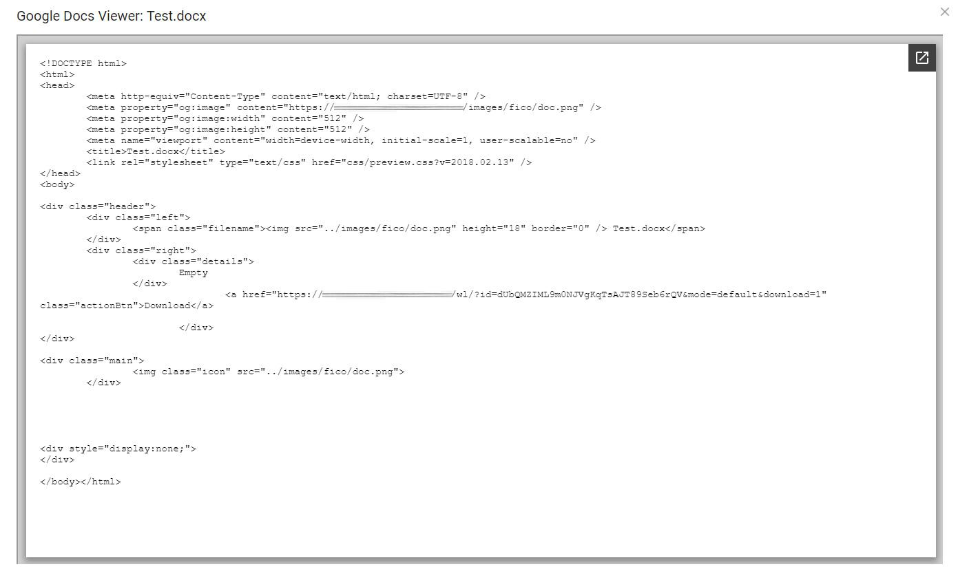 Google Docs Viewer / Weblink Bug / General / FileRun - PHP